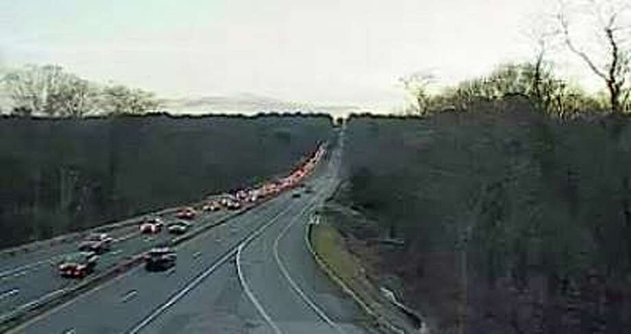 A two-vehicle crash has closed the southbound left lane on the Merritt Parkway on Wednesday, Feb. 12, 2020. The lane is closed between Exit 44 and 42. Photo: Traffic Cam