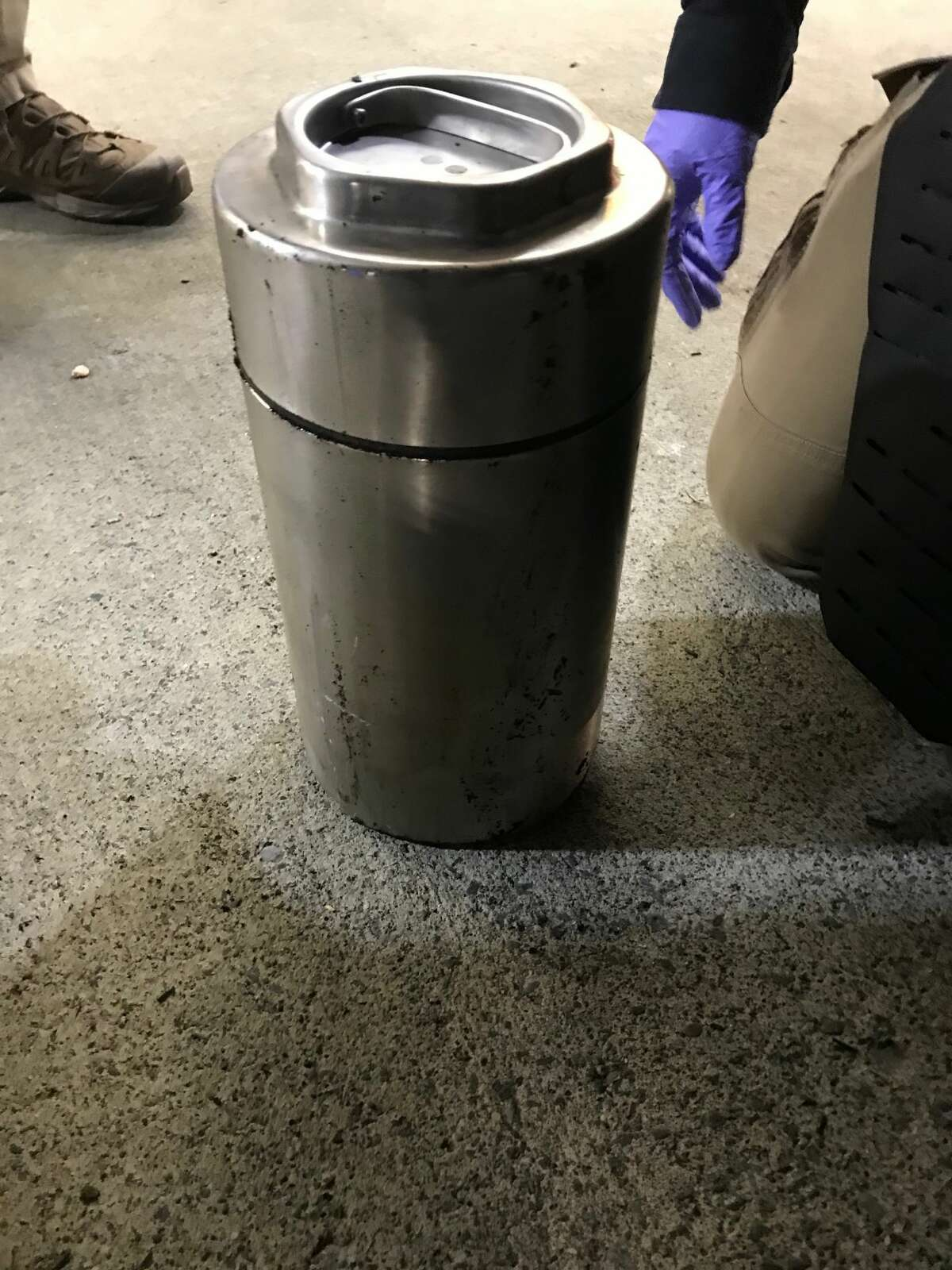 A police investigation determined this container contained soup not a bomb after it was found near the University at Albany's downtown location. The discovery triggered a response from a hazardous-material's team.