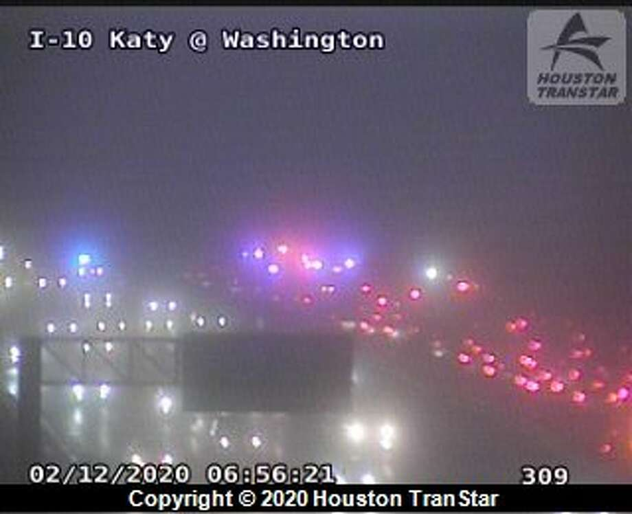Several inbound lanes of the Katy Freeway are closed for a crash Wednesday, Feb. 12, 2020. Photo: Houston TranStar