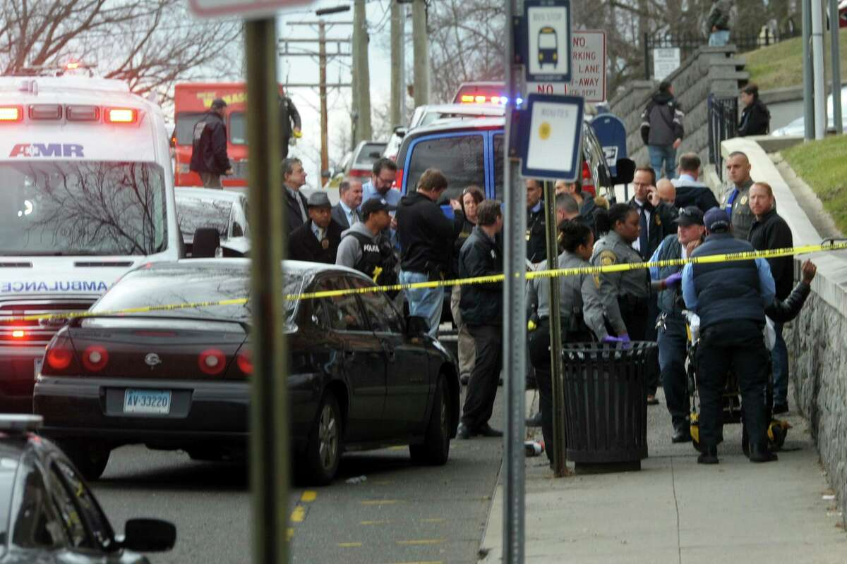 Emergency personnel on scene for a shooting outside at he Golden Hill Street courthouse Bridgeport, Conn., Monday, Jan. 27, 2020.