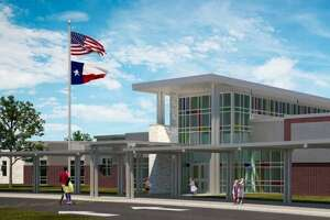 A rendering shows the entrance of Fox Elementary, Klein ISD's new school that will open fall 2020 at 4800 Port Aegean Drive, Klein.