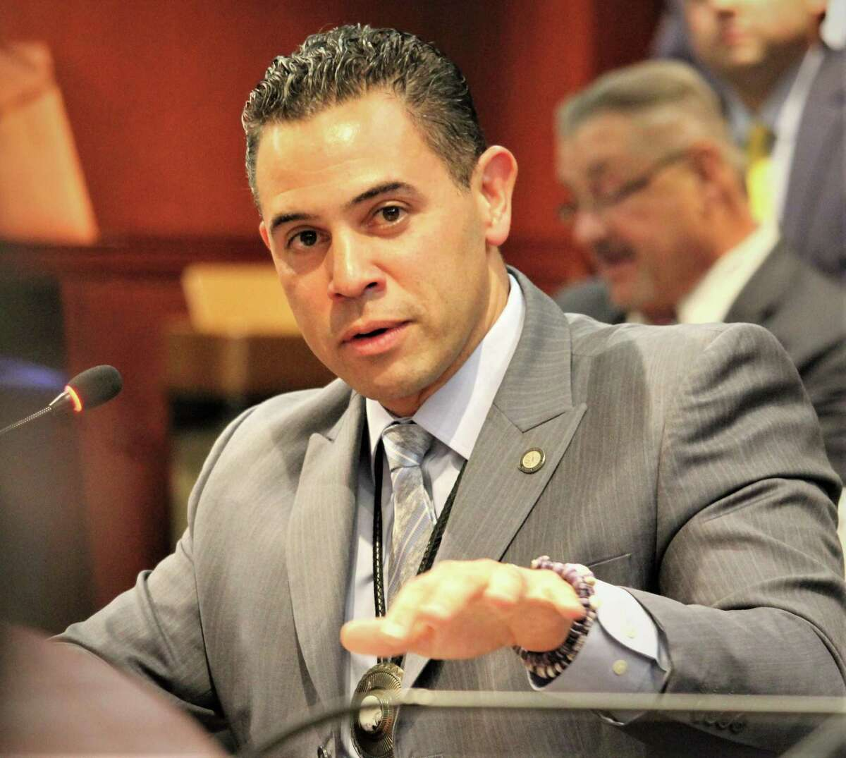 Rodney Butler, chairman of the Mashantucket Pequot Tribal Council, during a legislative hearing in Hartford earlier this year.