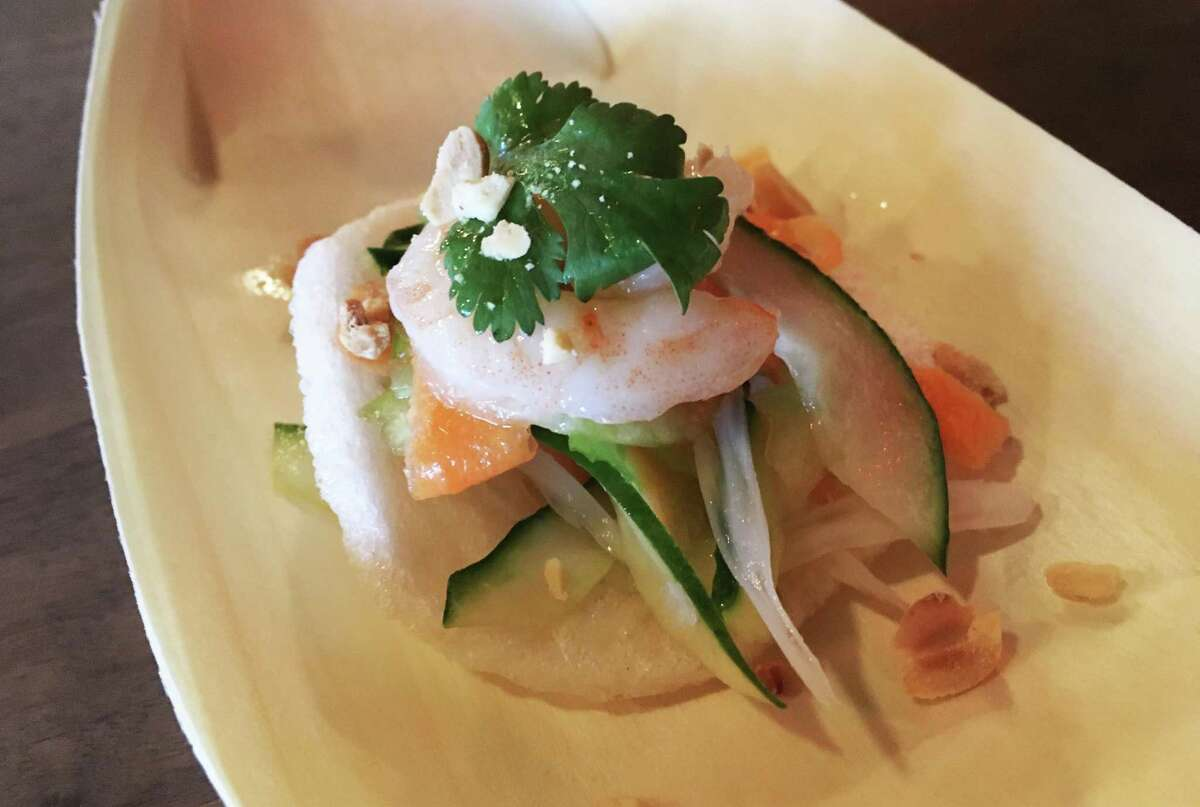 The lotus salad on shrimp chips at Tucker's Kozy Korner