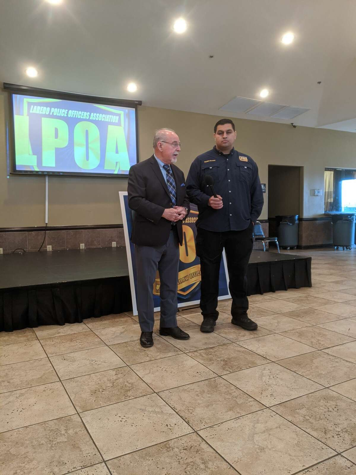 CLEAT Executive Director Charley Wilkinson speaks alongside LPOA President Rojelio Nevarez at a press conference Tuesday denouncing the release of suspected shooter Cesar Rene Terrazas, who posted bail on Jan. 31.
