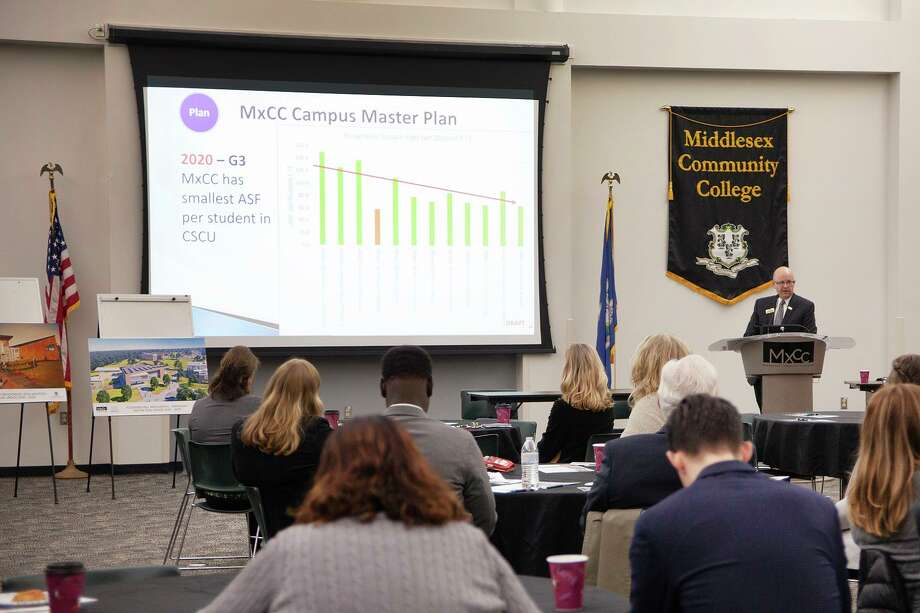 Middlesex Community College students recently took part in a Legislative breakfast. The institution carries out community service work through the Center for Civic Engagement, Magic Food Bus pantry and Veterans Memorial Garden in Middletown. Photo: Contributed Photo
