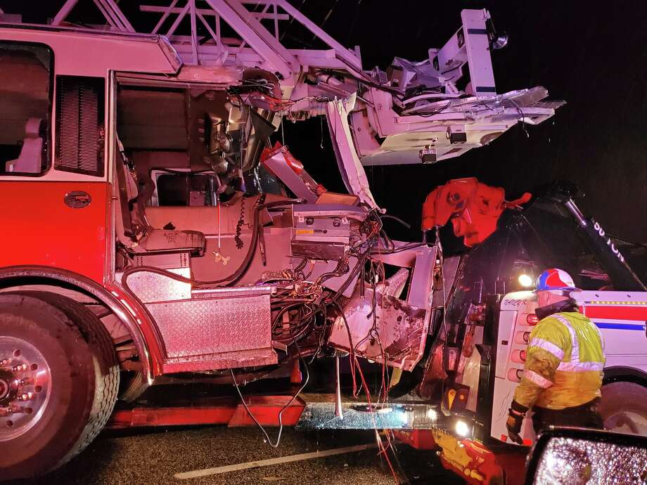 Schertz Fire Rescue is reminding drivers of the dangers many first responders face when responding to scenes Wednesday morning, after a tractor trailer struck one of the department's platform fire trucks while working an accident. Photo: Schertz Fire Rescue