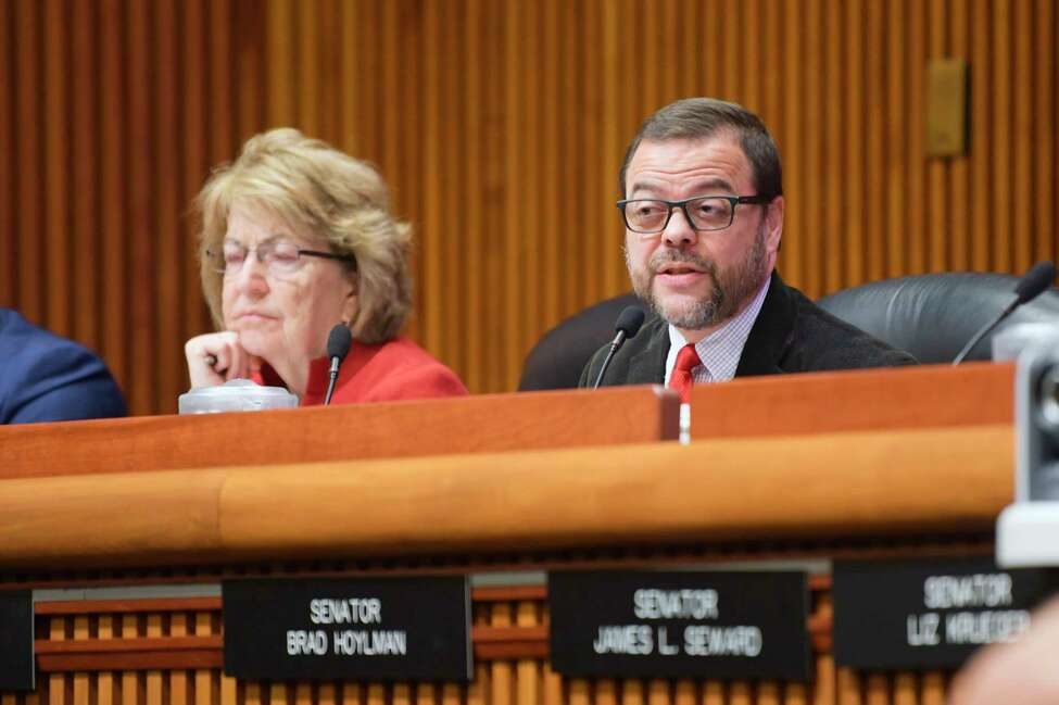 Senator Luis Sepulveda, right, speaks at a New York State Legislature joint budget hearing on public protection on Wednesday, Feb. 12, 2020, in Albany, N.Y. Also pictured is Senator Betty Little. (Paul Buckowski/Times Union)