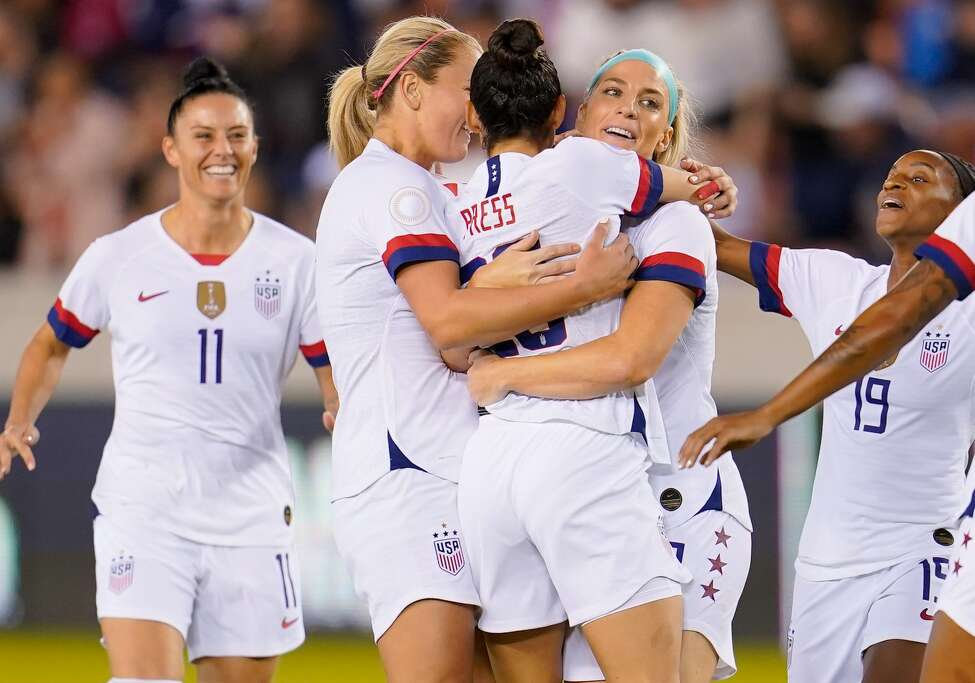 Christen Press #20 of the United States celebrates her goal with Julie Ertz #8 and teammates during a game between Costa Rica and USWNT at BBVA Stadium on February 03, 2020 in Houston, Texas. Team USA will be playing a number of games ahead of the Olympics, including a match against Brazil in San Jose.