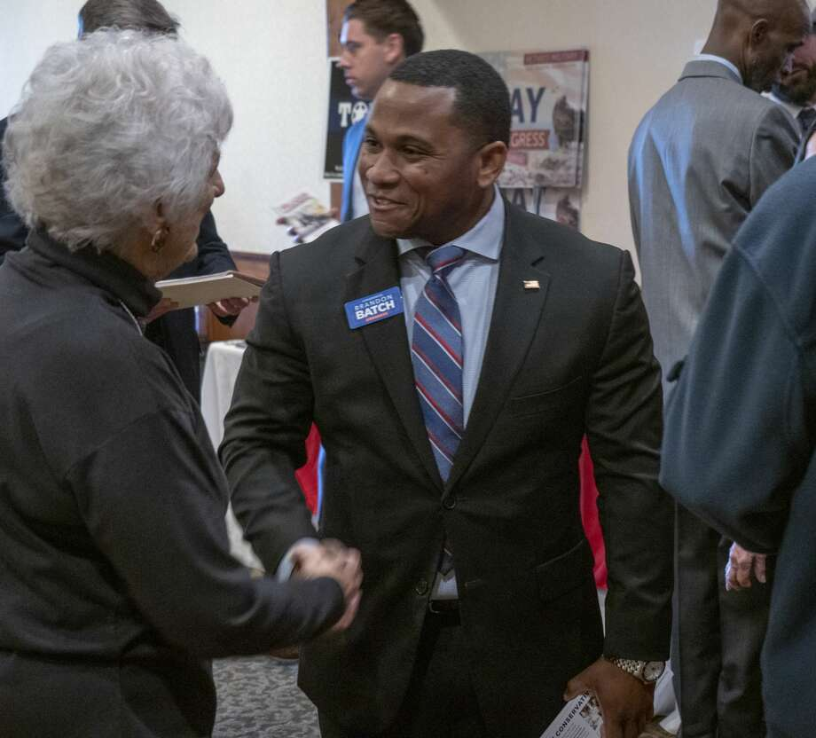 Brandon Batch, candidate for the Texas District 11 Congressional seat, talks with voters 02/12/19 before the Midland County Republican Women's luncheon. Tim Fischer/Reporter-Telegram Photo: Tim Fischer/Midland Reporter-Telegram
