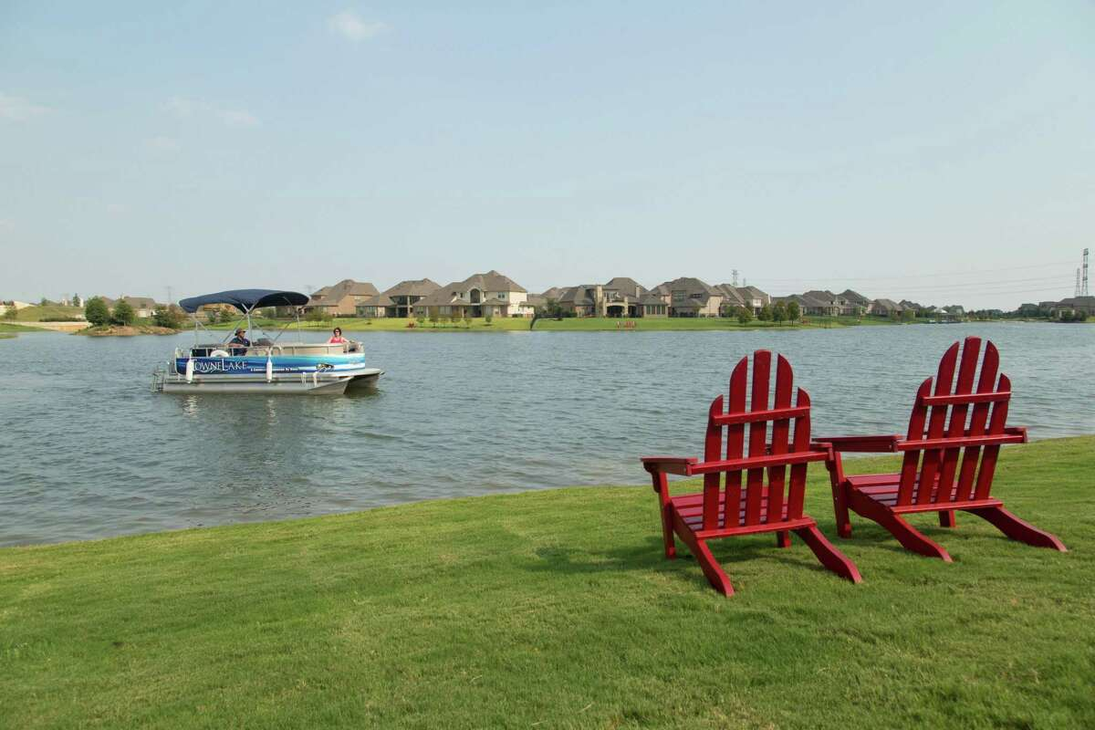 Towne Lake in Cypress uses pontoons to offer a water taxi service for residents.