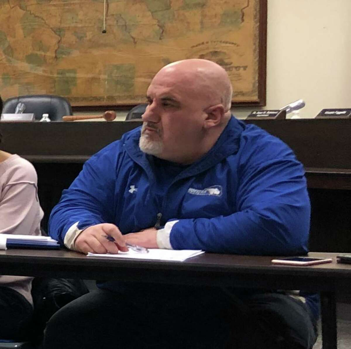 Robert DeLorenzo at a 2019 meeting of the Stratford Board of Education