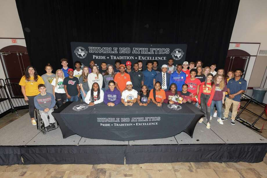 41 student athletes signed letters of intent to play at the next level in college at a special signing ceremony at the Humble Civic Center. Photo: Contributed Photo Humble ISD