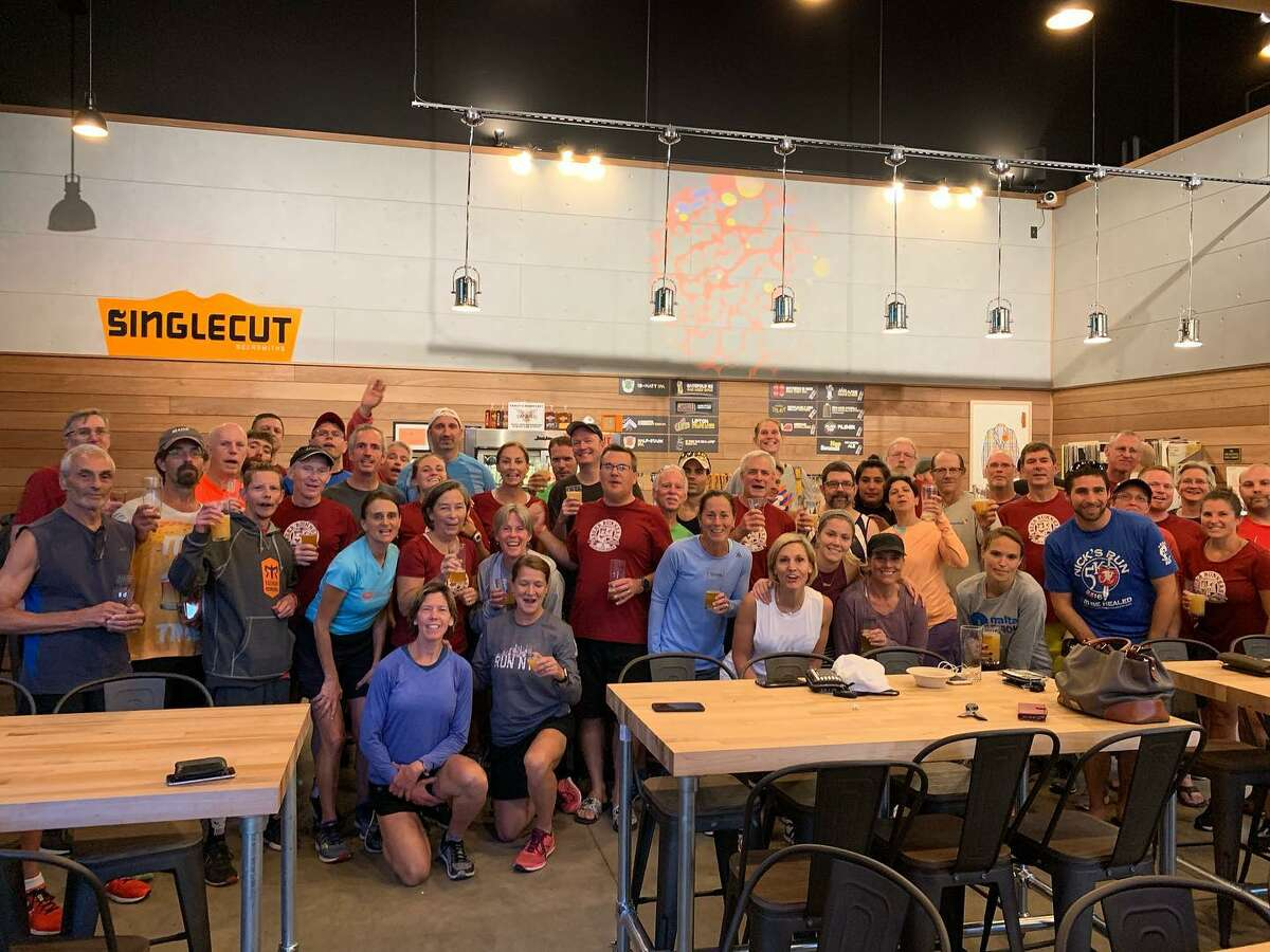 The Clifton Park Beer Runners at the SingleCut brewery in Clifton Park. (Courtesy of Beer Runners Clifton Park Facebook Page)