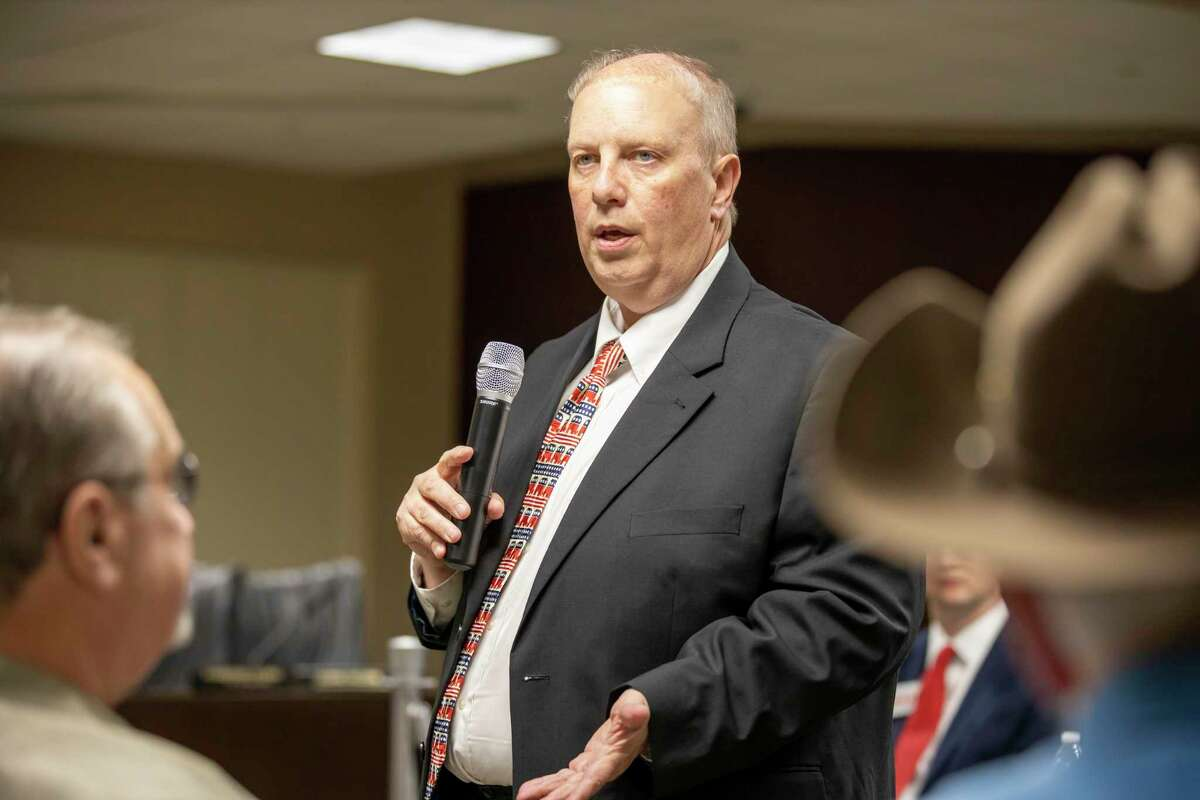Eric Yollick, republican candidate for the 457th state District Court, gives his introductory speech to the audience during the first debate in Shenandoah, Thursday, Jan. 9, 2020.