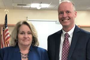 Board of Education Chairwoman Sharon Peters, left, and Superintendent of Schools Charles Britton.