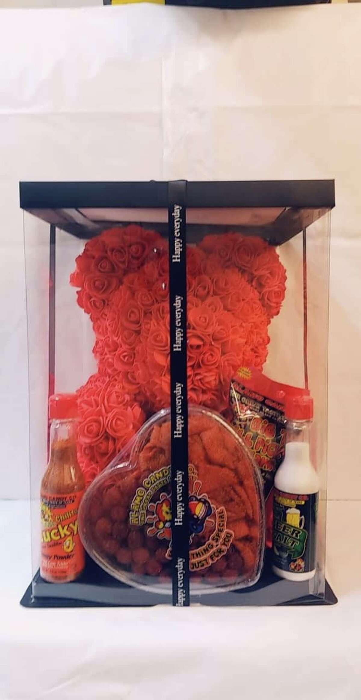 Bear Gift Set with Alamo Candy Co. heart $59.99 At Alamo Candy Co.