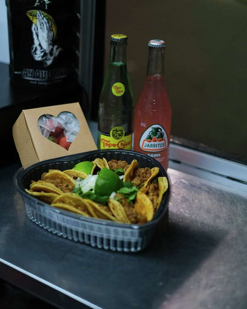 Ay Que Rico's Valentine's Day Package $30, includes 10 tacos (asada, pastor or chicken), chamoy and Lucas-covered strawberries, 2 drinks and a goodie bag with a heart concha and other goodies. The deal is available Friday only, starting at 6 p.m. 8139 Marbach Road
