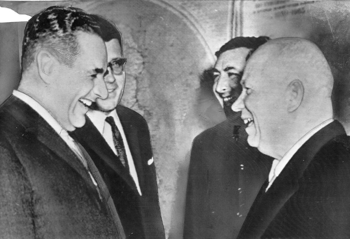 Mayor George Christopher in Moscow during his trip to Russia, meets with Nikita Khrushchev at the Kremlin March 8, 1960 Photo ran 03/09/1960