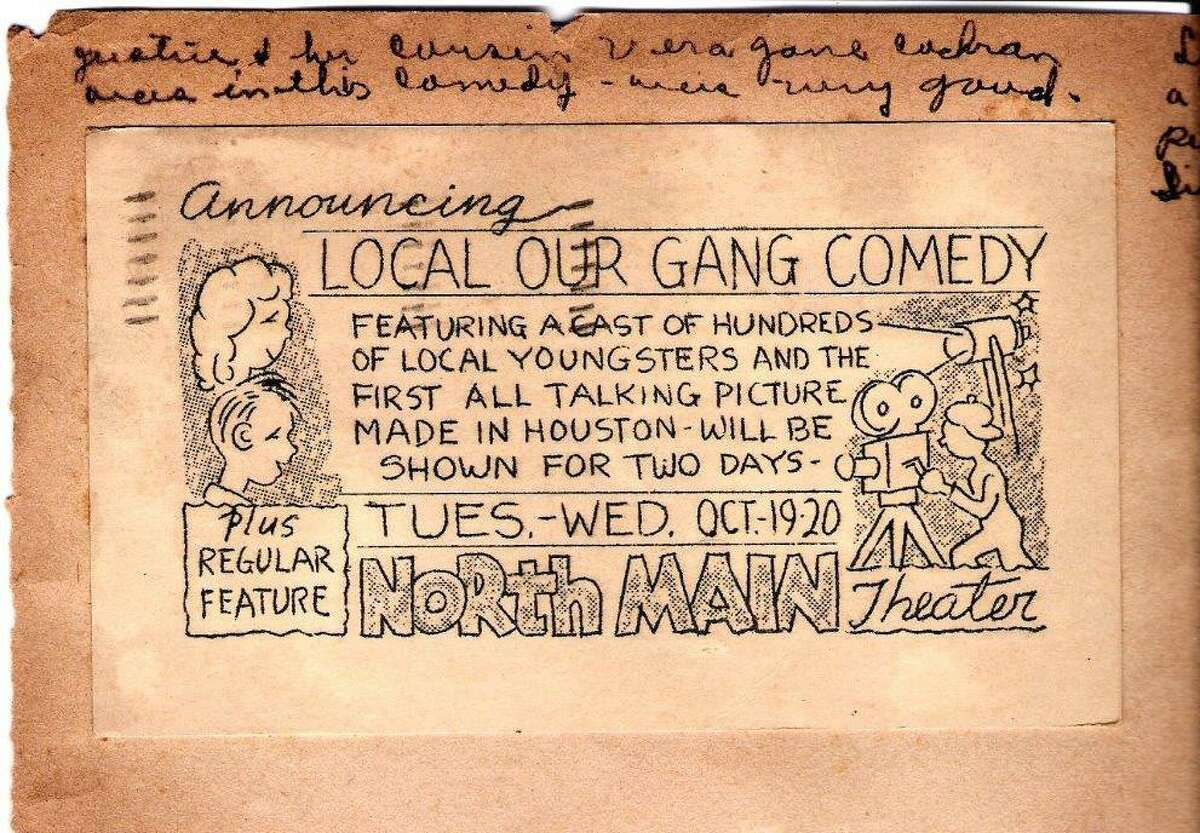 """This flyer advertised a screening of """"Kidnappers Foil"""" in October 1937 at the North Main Theater in Houston."""
