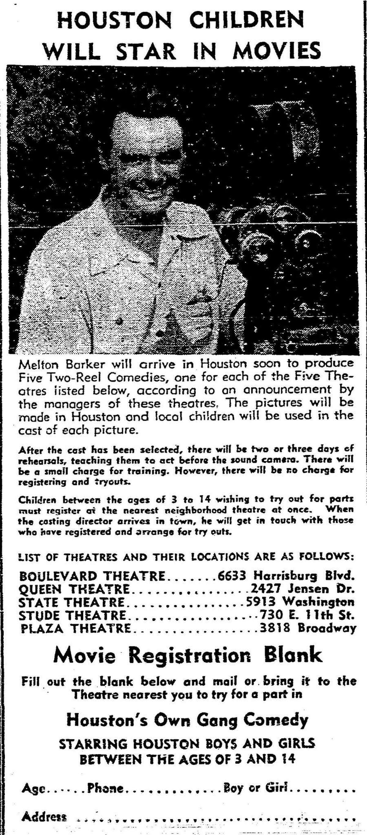 """A 1948 newspaper ad in the Houston Chronicle promotes local auditions for Melton Barker's """"Kidnappers Foil""""."""