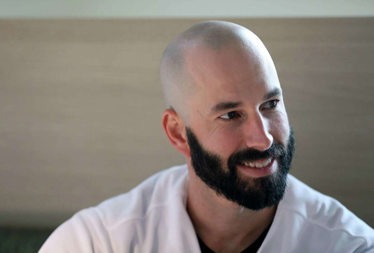 Mike Fiers, pitcher, at the Oakland A's Fan Fest last month, says he wants to focus on this season and not the past. His interview in November set in motion the sign-stealing scandal that rocked the Astros.