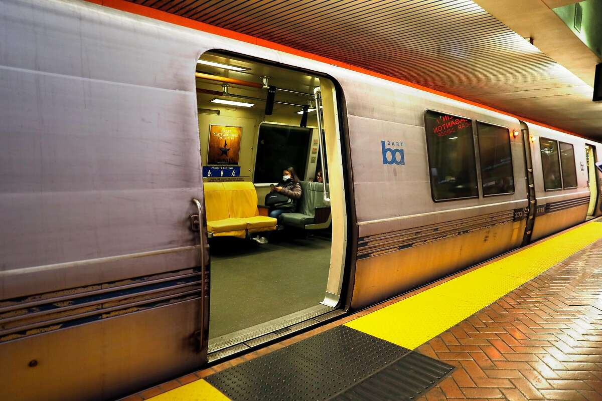 A partially filled train readies to leave BART Powell Street station in San Francisco, Calif., on Tuesday, February 11, 2020.