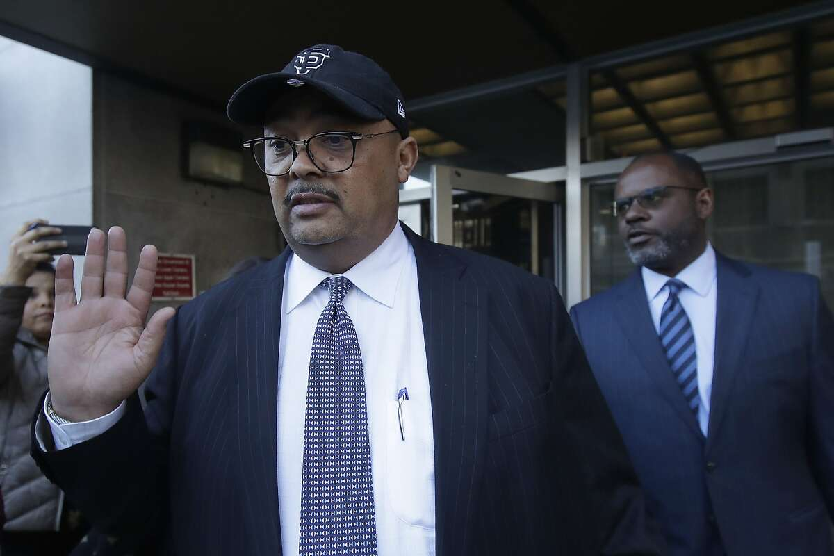 This Feb. 6, 2020, photo shows director of San Francisco Public Works Mohammed Nuru, left, leaving a federal courthouse in San Francisco.