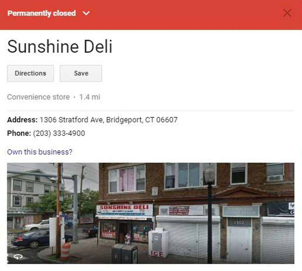 A screenshot of the permanent closure information about Sunshine Deli on Stratford Avenue in Bridgeport, Conn.