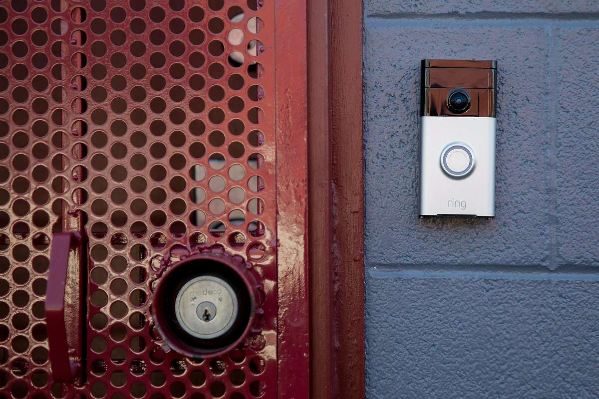 A Ring video doorbell is seen outside of an apartment in Oakland, Calif. Thursday, February 6, 2020. Local agencies interviewed by The Chronicle said their partnership with Ring has helped investigators crack down on crime more efficiently. Critics feel they threaten the privacy of innocent people, with no proof the devices actually make neighborhoods safer.