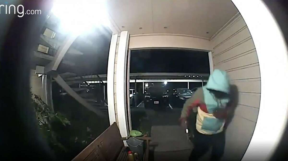 A screenshot from video recorded by a Ring device, and later released by the Oakland Police Department, shows a suspect in a robbery there last month.