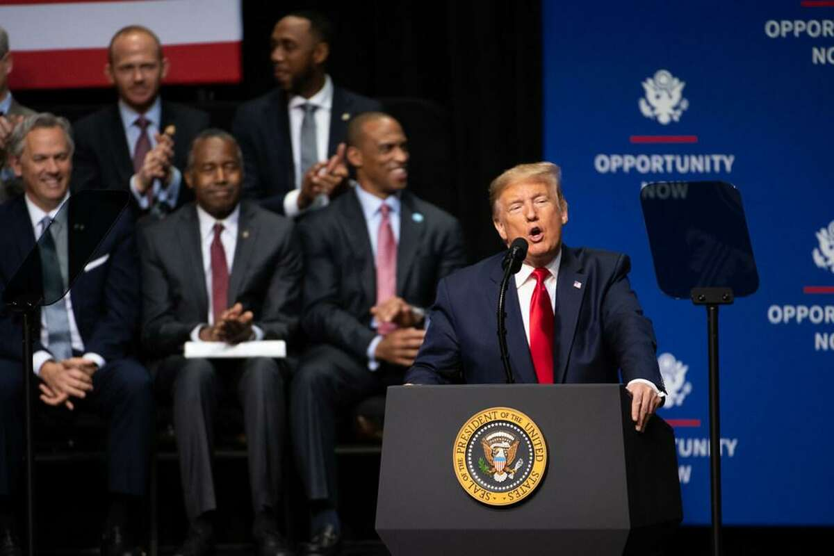 U.S. President Donald Trump addresses the crowd during the Opportunity Now summit at Central Piedmont Community College on February 7, 2020 in Charlotte, North Carolina.