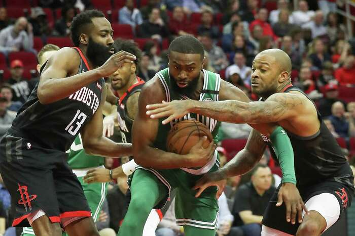 The Rockets' Feb. 11 victory over the Celtics helped spark belief in their small-ball lineup, but P.J. Tucker (right) said the team nees to stay on a even keel and not read too much into that win.