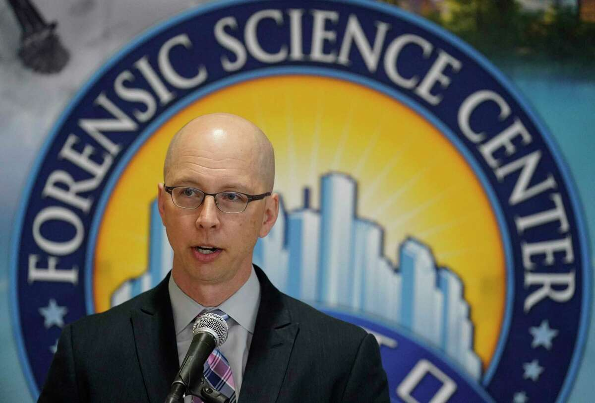 Dr. Peter Stout, CEO Houston Forensic Science Center, speaks during a press conference at HFSC, 500 Jefferson St., Wednesday, Feb. 12, 2020, in Houston. The research and findings regarding PCP found in impaired driving cases in Houston was published Wednesday in the Journal of Analytical Toxicology.