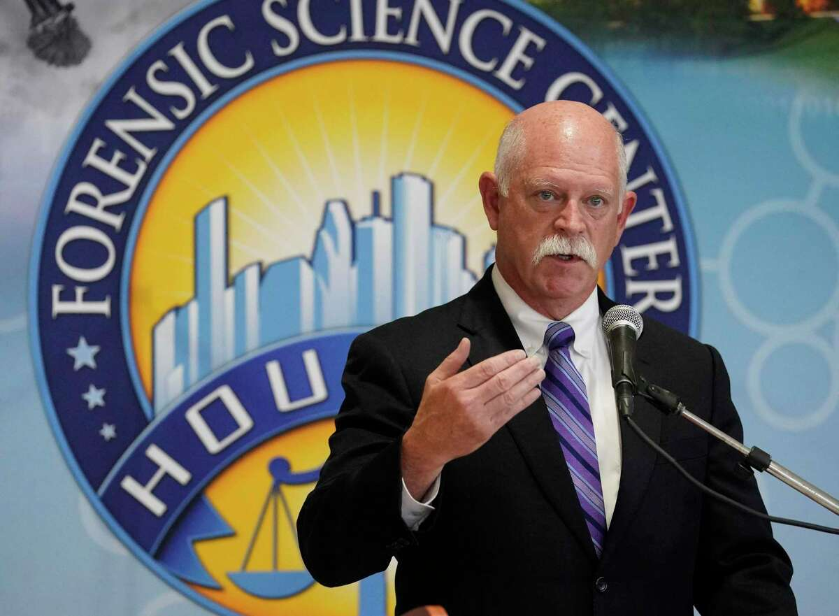 Dr. David Persse, public health authority for Houston's Department of Health and Human Services, speaks during a press conference at Houston Forensic Science Center, 500 Jefferson St., Wednesday, Feb. 12, 2020, in Houston. The research and findings regarding PCP found in impaired driving cases in Houston was published Wednesday in the Journal of Analytical Toxicology.