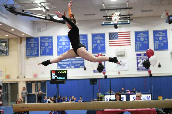 Bethlehem's Riley Guy competes on the balance beam during the Section II Gymnastics sectionals at Shaker High School on Wednesday, Feb. 12, 2020 in Latham, N.Y. (Lori Van Buren/Times Union)