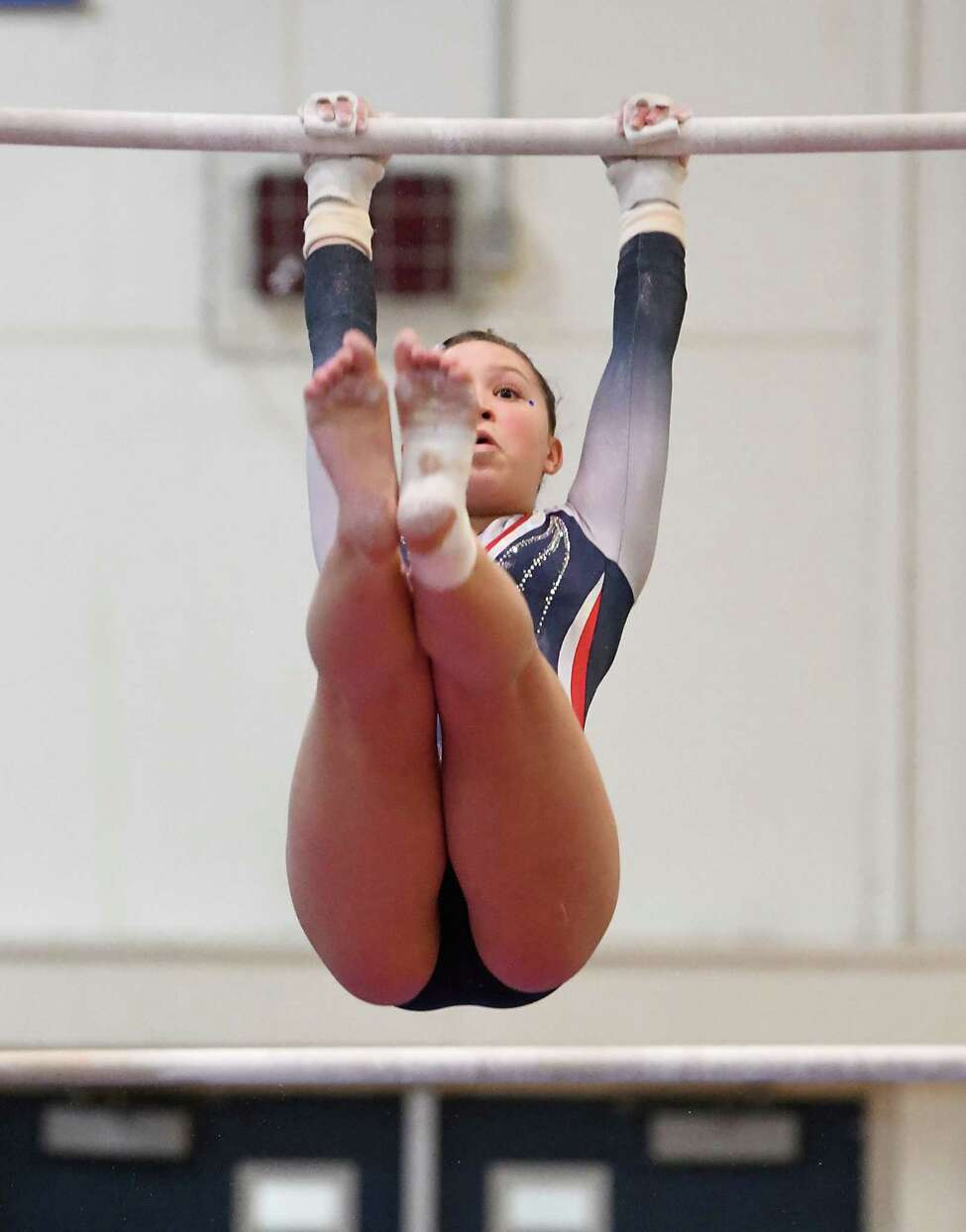 Saratoga's Carly Ruschack competes on the uneven bars during the Section II Gymnastics sectionals at Shaker High School on Wednesday, Feb. 12, 2020 in Latham, N.Y. (Lori Van Buren/Times Union)