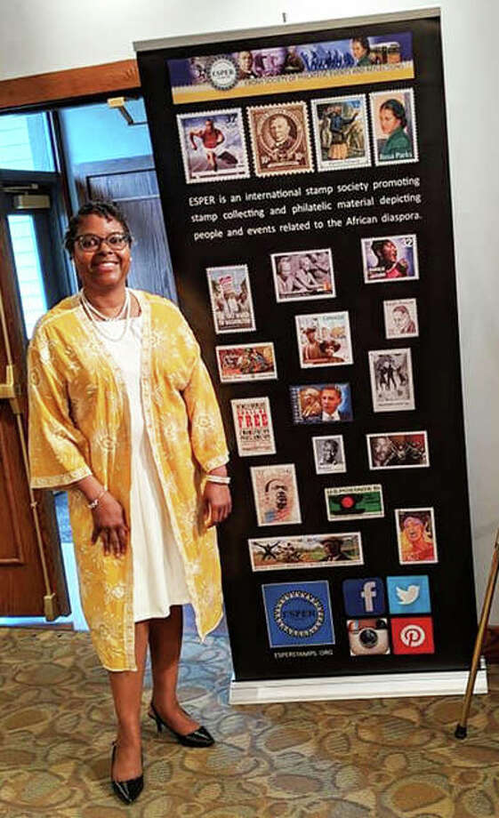 Charlene Blair at the recent Southern Illinois University Edwardsville Black Business Expo displaying her philatelic (study of stamps) collection. In 2017, Blair, of Edwardsville, founded the National Museum of African Americans on Stamps to share her extensive personal collection with others and introduce them to African Americans featured on U.S. postage stamps through pop-up exhibits and social media. Photo: Submitted Photos|For The Telegraph