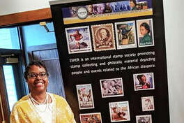 Charlene Blair at the recent Southern Illinois University Edwardsville Black Business Expo displaying her philatelic (study of stamps) collection. In 2017, Blair, of Edwardsville, founded the National Museum of African Americans on Stamps to share her extensive personal collection with others and introduce them to African Americans featured on U.S. postage stamps through pop-up exhibits and social media.
