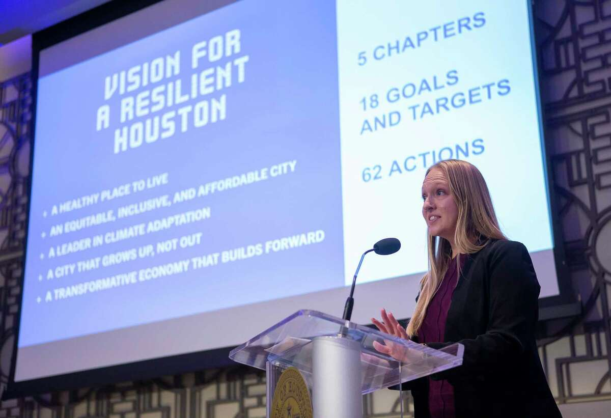 """Marissa Aho, the city's chief resilience officer, gives an overview of the city's new """"Resilient Houston"""" plan, Wednesday, Feb. 12, 2020, at Houston City Hall."""
