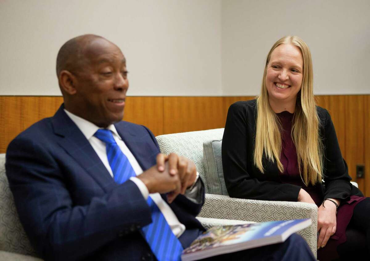 """Mayor Sylvester Turner and Marissa Aho, the city's chief resilience officer, speak following a presentation the """"Resilient Houston"""" plan, Wednesday, Feb. 12, 2020, at Houston City Hall."""