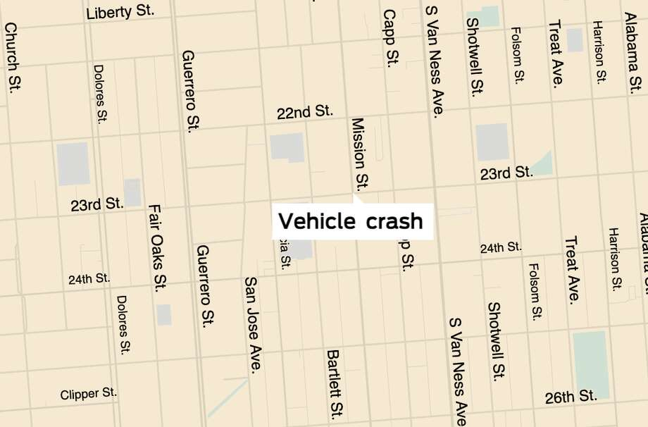 Police and emergency crews responded to a vehicle crash that hit at lease three pedestrians at the intersection of Mission and 23rd Streets on Wednesday, Feb. 12. Photo: SFGATE