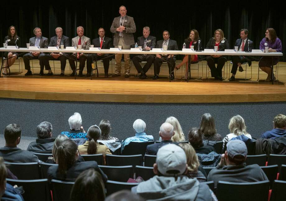 Rory McKinney and other candidates for Midland County positions speaks 02/12/19 evening at the Midland League of Women Voyers forum at Midland College. Tim Fischer/Reporter-Telegram Photo: Tim Fischer/Midland Reporter-Telegram