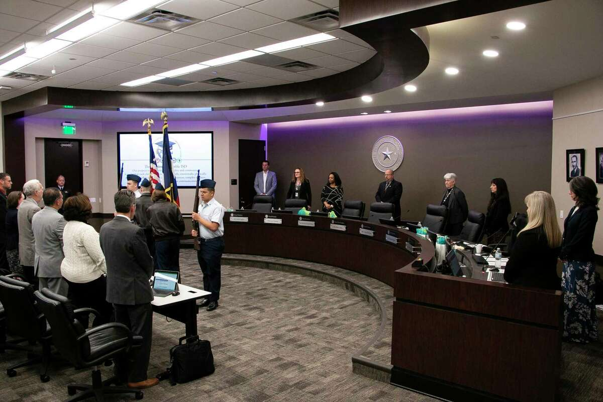 The Kingwood Park High School Air Force JROTC presented the American and Texas flags for the Pledge of Allegiance at the Humble ISD School Board meeting on Feb. 11, 2020.