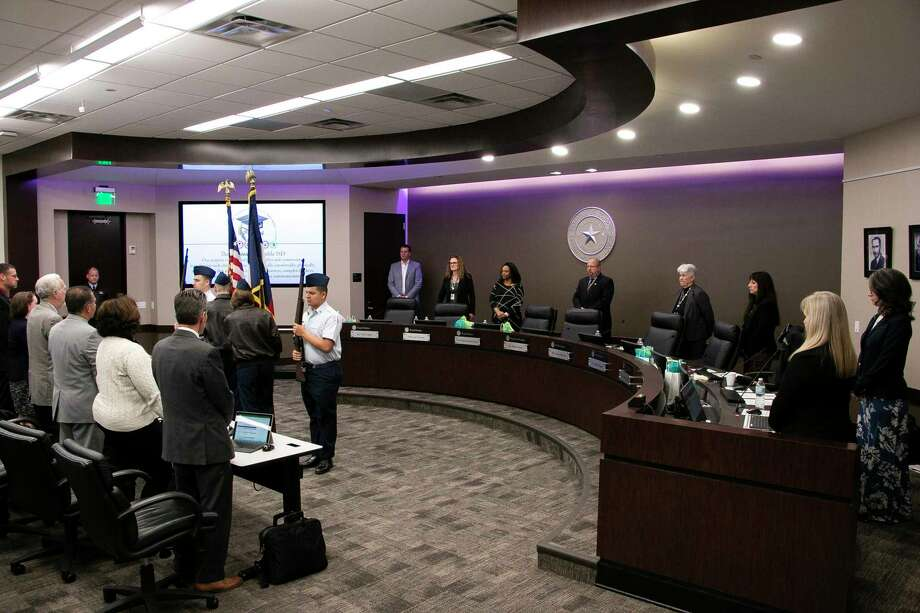 The Kingwood Park High School Air Force JROTC presented the American and Texas flags for the Pledge of Allegiance at the Humble ISD School Board meeting on Feb. 11. Photo: Savannah Mehrtens/Staff Photo / Savannah Mehrtens/Staff Photo