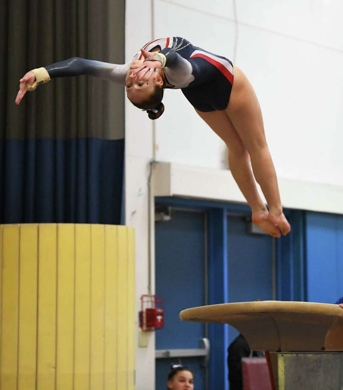 Saratoga's Ava Dallas competes in the vault during the Section II Gymnastics sectionals at Shaker High School on Wednesday, Feb. 12, 2020 in Latham, N.Y. (Lori Van Buren/Times Union)