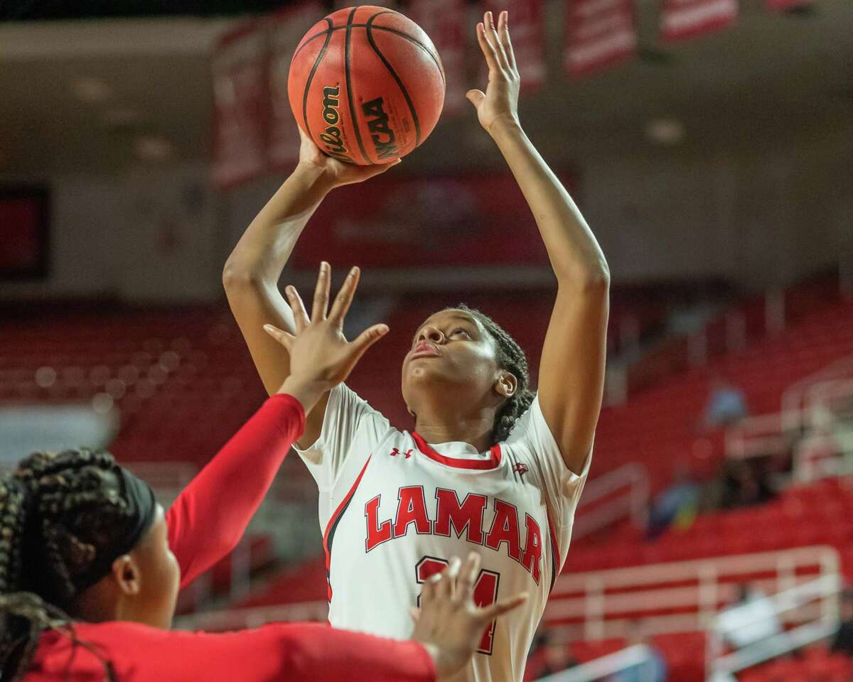 Ashlan Miles (24) puts up a shot in the first half as Nicholls State University women's basketball came to town to battle with the Lamar Lady Cardinals on February 12, 2020. Fran Ruchalski/The Enterprise