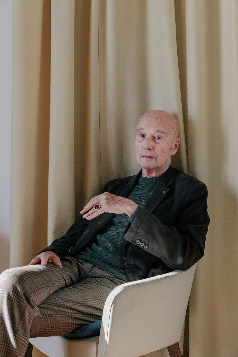 The French writer Gabriel Matzneff in the Italian Riviera on Feb. 1, 2020. Matzneff has been summoned to appear in a Paris court on Wednesday, Feb. 12, accused of actively promoting pedophilia through his books. (Andrea Mantovani/The New York Times)