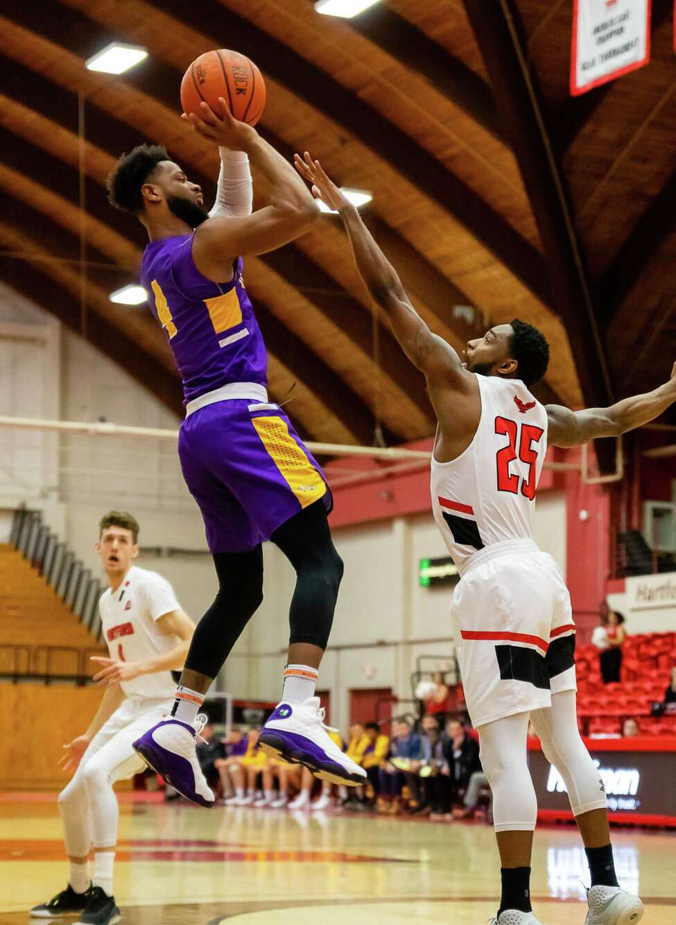 Ahmad Clark goes up for a shot against Hartford on Wednesday, February 12, 2020. (Courtesy Brent Warzocha)