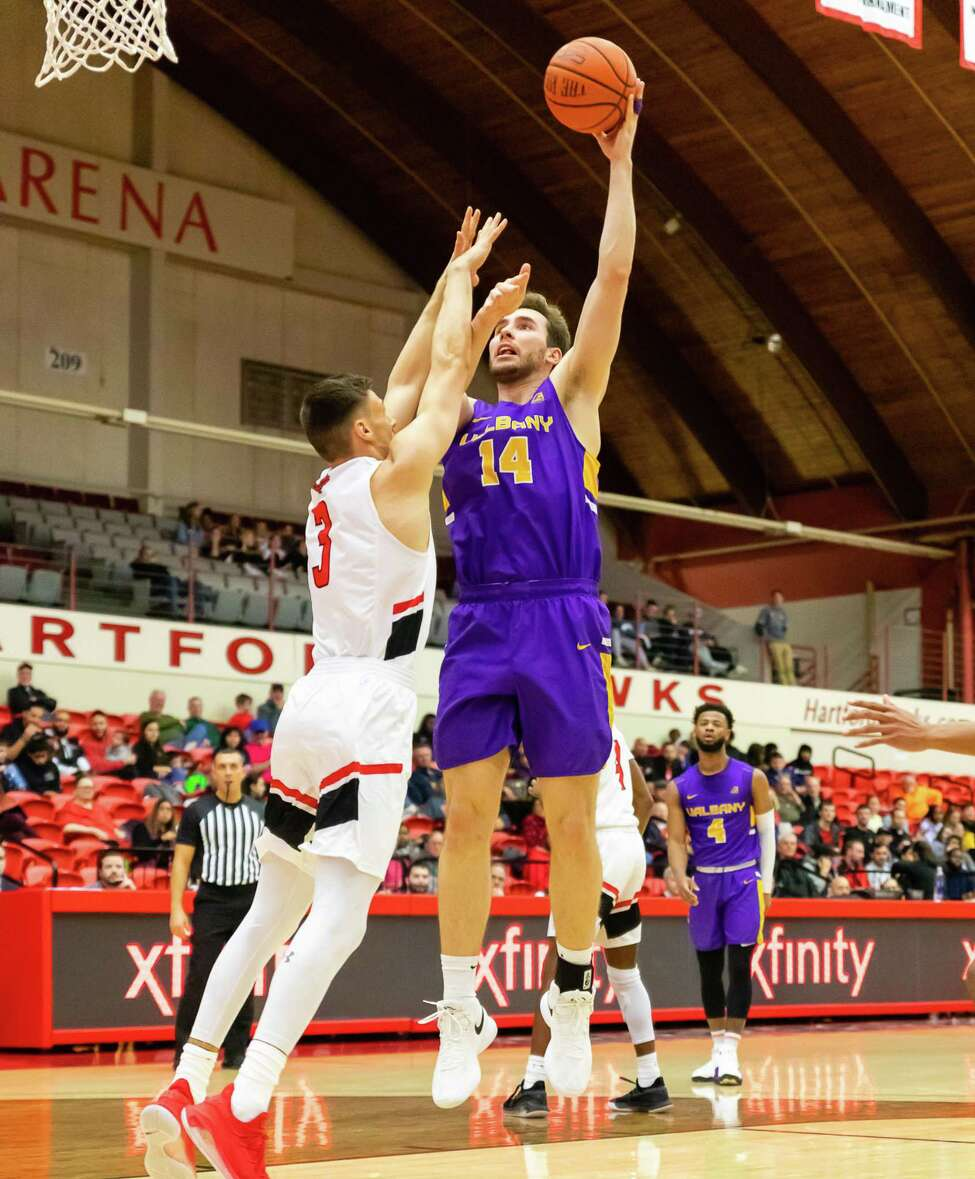Adam Lulka goes up for a shot against Hartford on Wednesday, February 12, 2020. (Courtesy Brent Warzocha)