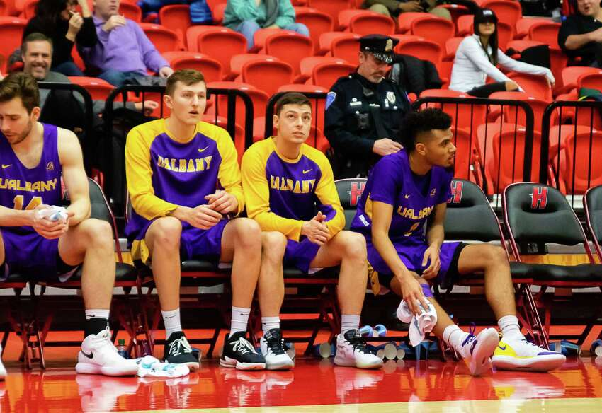 Cameron Healy sits on the bench during a game against Hartford on Wednesday, February 12, 2020. (Courtesy Brent Warzocha)